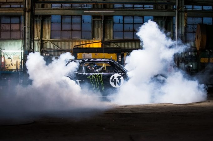 Hoonicorn Mustang chained to an anchor for a tire test