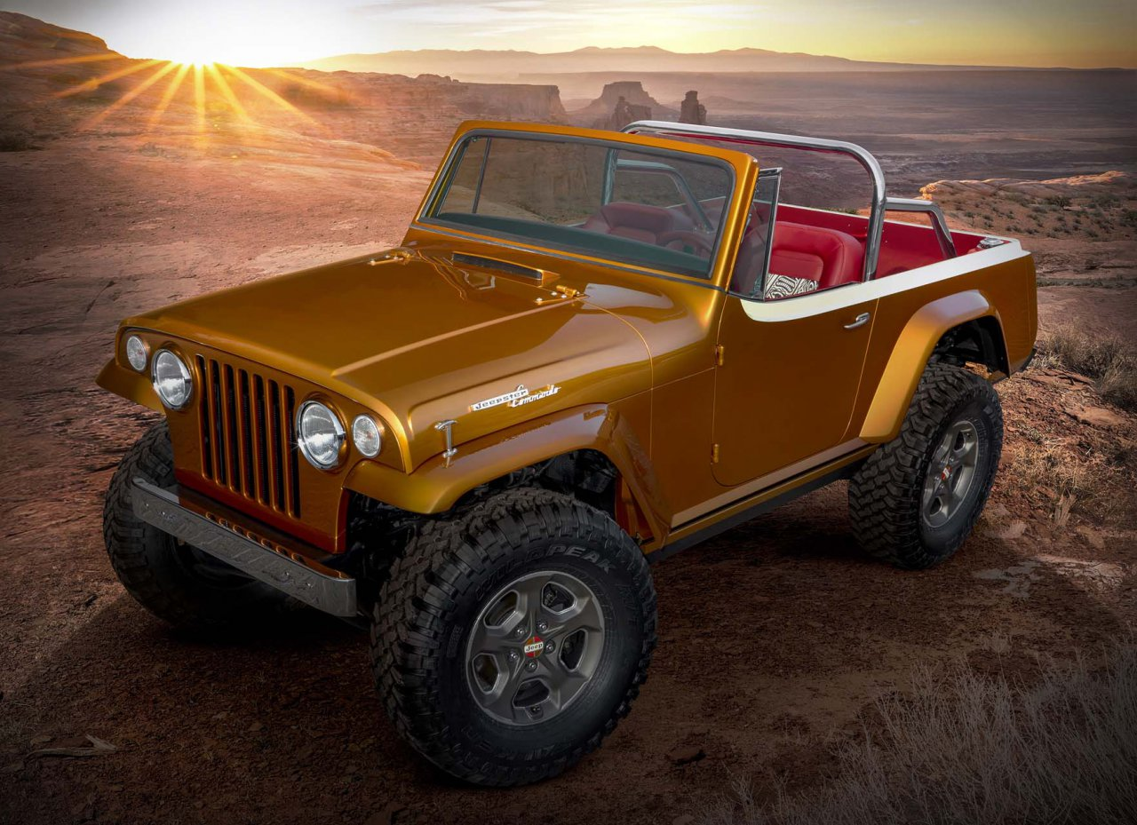 "This year's Jeep® ""Resto-Mod"" is a throwback to the second-generation Jeepster. The Jeepster Beach concept started as a 1968 Jeepster Commando (C-101) and was seamlessly blended with a 2020 Jeep Wrangler Rubicon. The body was modified and the exterior fuses original chrome trim with an updated, brightly colored two-tone paint scheme of Hazy IPA and Zinc Oxide. While the Jeepster Beach maintains the outward appearance of a vintage Jeepster, it commands peak performance both on- and off-road delivered by the modern-day Jeep Wrangler."