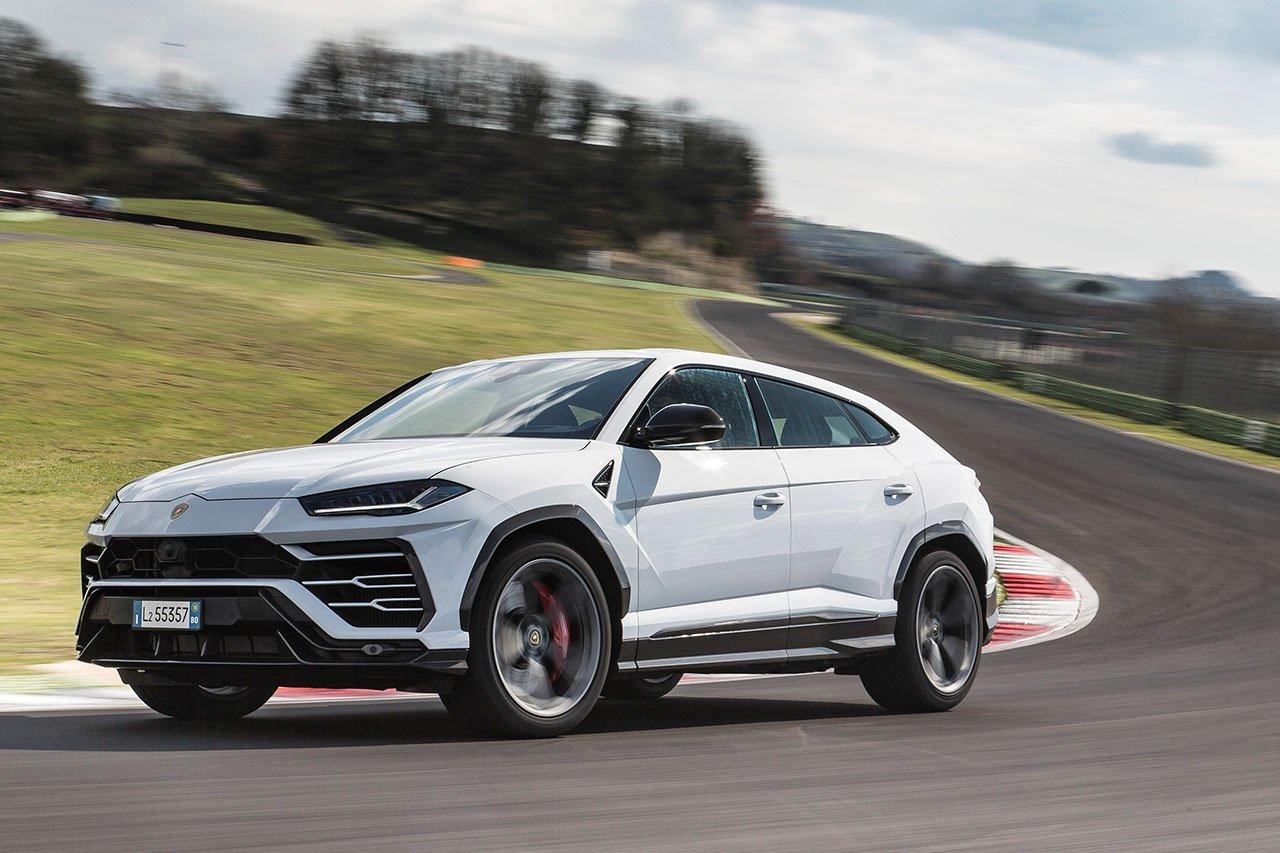 White Lamborghini Urus on race track