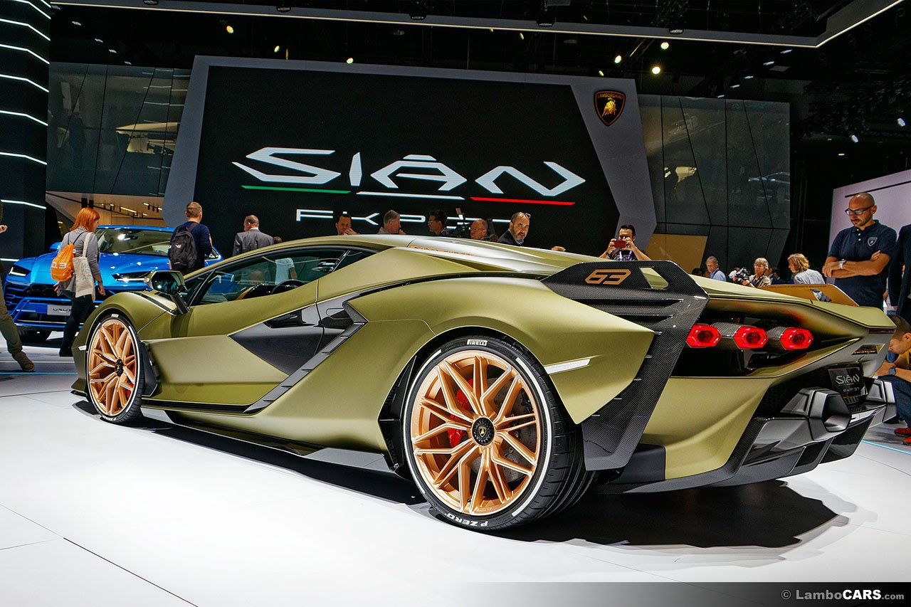 Rear angle view of Lamborghini Sian